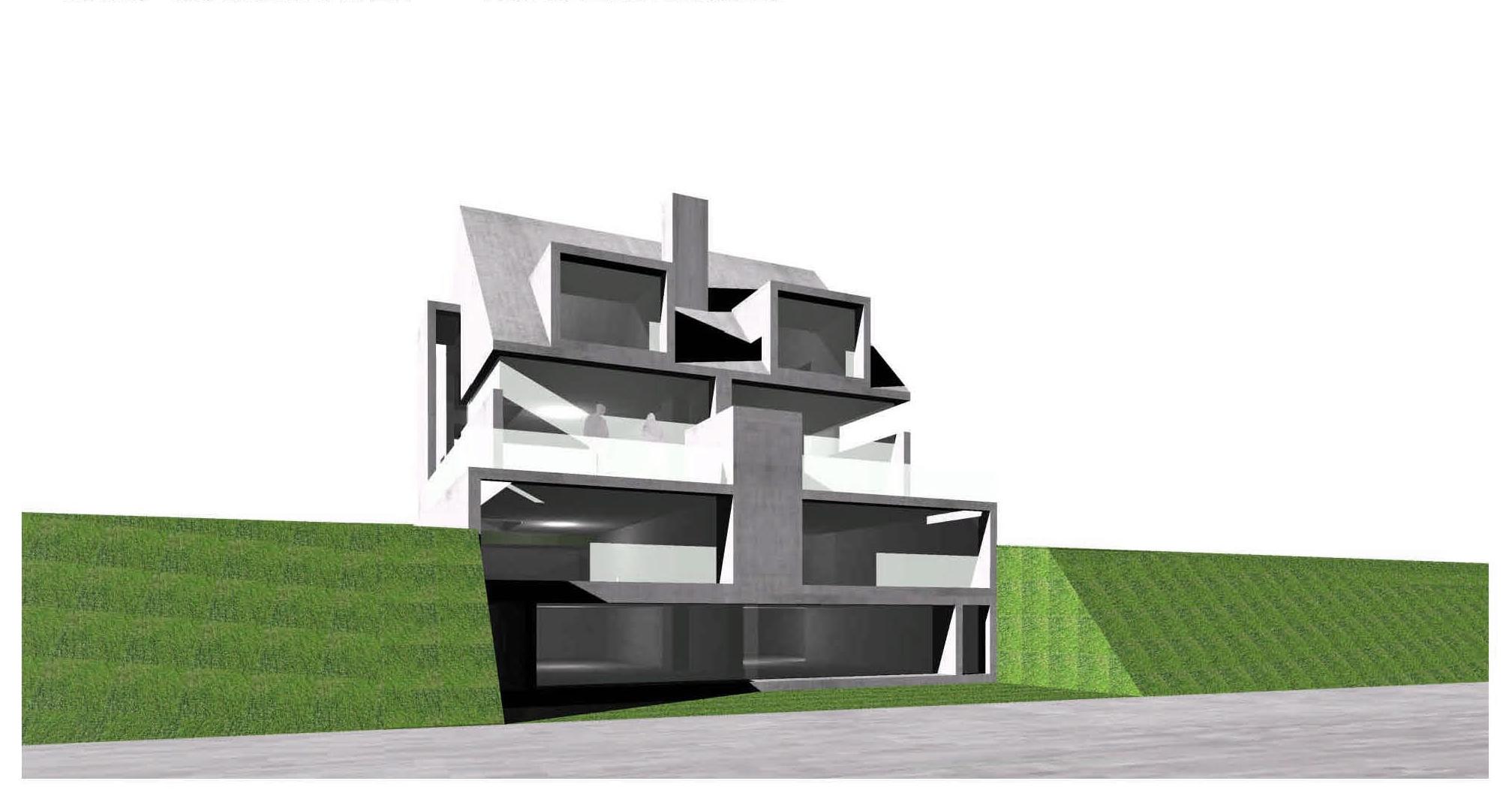 Doppelhaus Würzburg Hang Einliegerwohnung Beton